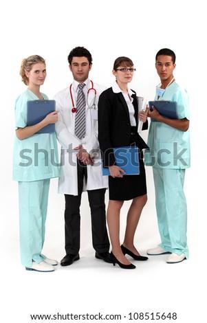 An hospital team. - stock photo
