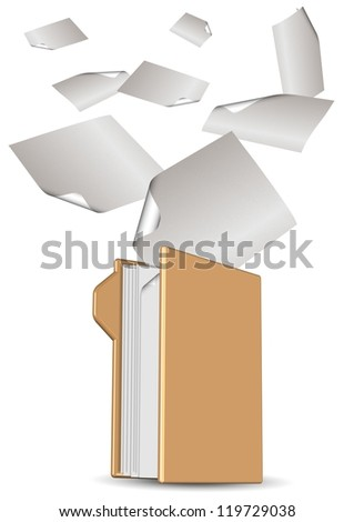 An icon for computer folder and paper sheets flying into it / Digital archive - stock photo