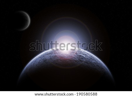 An Icy Planet Floating in the Middle of a Remote Star Field and Back-lit by an Intense, Stellar Light Source.Elements of this image furnished by NASA - stock photo