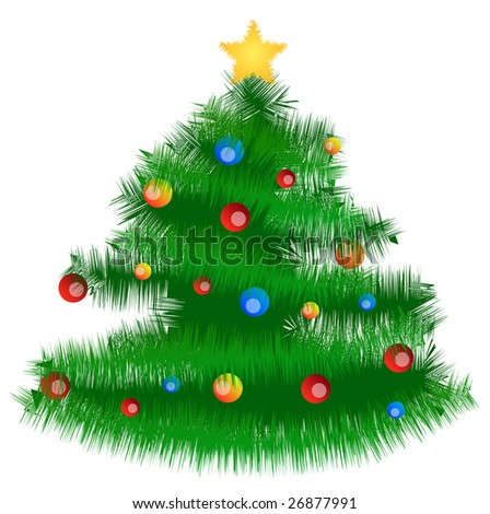 An illustrated christmas tree with a lot of glitter balls. All isolated on white background. - stock photo