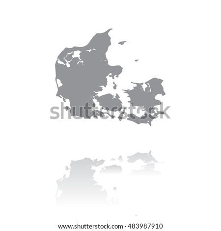 An Illustrated Country Shape of Denmark
