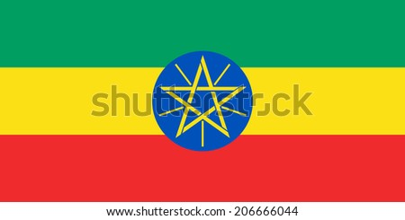 An Illustrated Drawing of the flag of Ethiopia