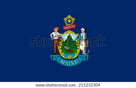 An Illustrated Drawing of the flag of Maine state (USA) - stock photo