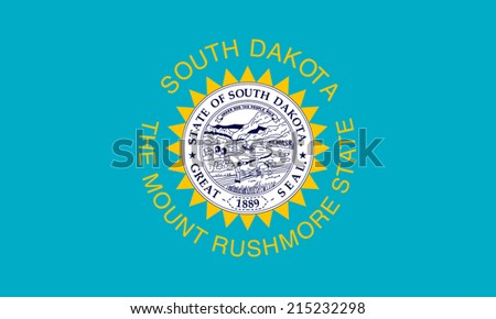 An Illustrated Drawing of the flag of South Dakota state (USA)  - stock photo