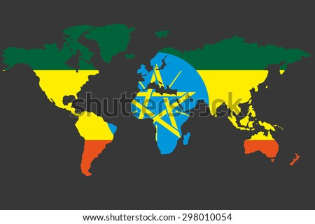 An Illustrated Map of the world with the flag of Ethiopia - stock photo