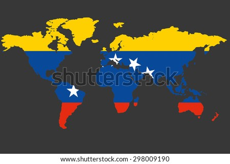 An Illustrated Map of the world with the flag of Venezuela - stock photo