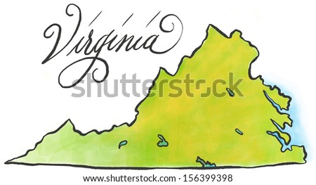 An illustrated map of Virginia. - stock photo