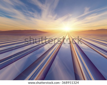 An illustration abstract surreal background with a flash of light sunrise over a metal grid to a vanishing point. - stock photo