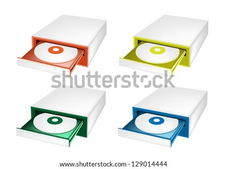 An Illustration Collection of Colorful CD-ROM Disk Drive for Desktop PC in Orange, Yellow, Green and Blue Colors - stock photo
