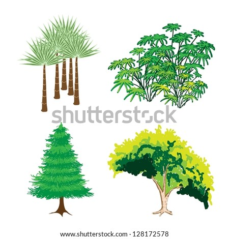 An Illustration Collection of Landscaping Tree Symbols or Isometric Green Trees and Plants, Variety of Plants, Evergreens and Trees for Garden Decoration - stock photo