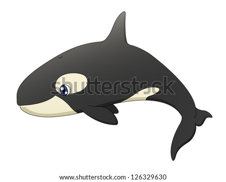 An illustration depicting a cute cartoon killer whale swimming. Raster. - stock photo