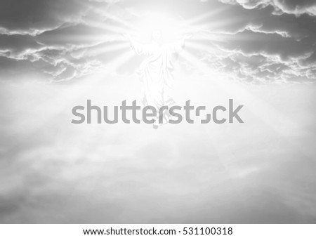 An illustration depicting the resurrection and ascension into the clouds in heaven of jesus