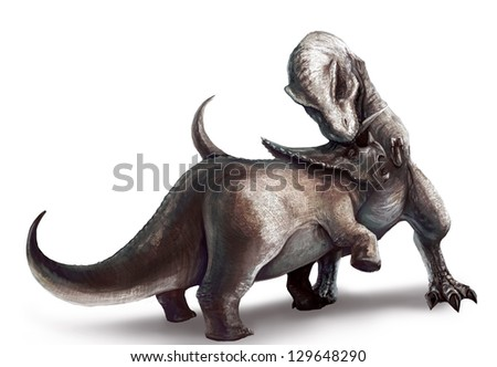 An illustration drawing of two dinosaurs battle. Tyrannosaurus Rex fighting a Triceratops