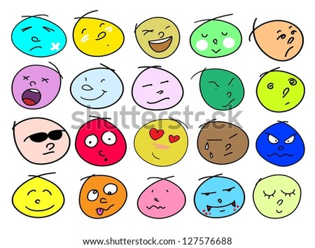 An Illustration Multi Colors of Different Facial Emotions Icon Set Isolated on A White Background - stock photo