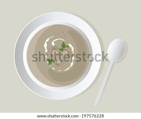 an illustration of a a bowl of delicious mushroom soup with mushroom slices and coriander leaves in white crockery on a beige background - stock photo