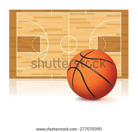 An illustration of a basketball and basketball court isolated on a white background. - stock photo
