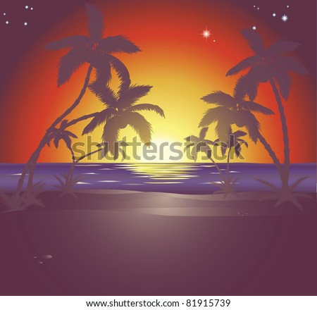 An illustration of a beautiful beach scene at sunset