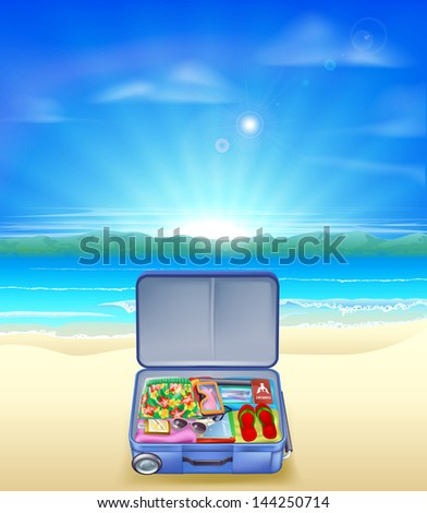An illustration of a beautiful sandy tropical beach with a suitcase full of holiday or vacation essentials - stock photo