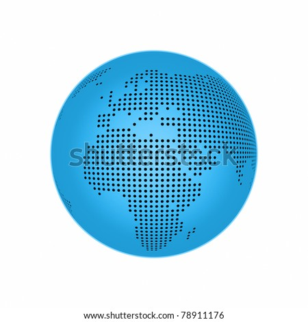 An illustration of a blue earth map - stock photo