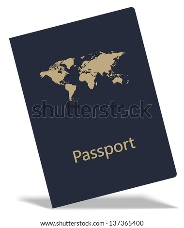 An illustration of a blue passport with a map of world on it / Passport