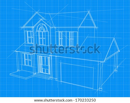 An illustration of a blueprint for an new house under construction - stock photo
