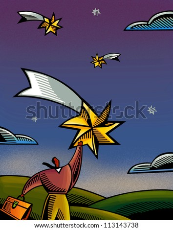 An illustration of a businessman reaching for a star - stock photo
