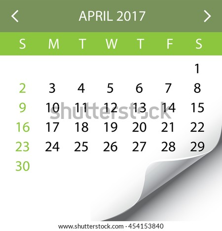 An Illustration of a 2017 Calendar - April