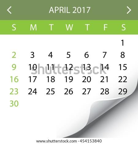 An Illustration of a 2017 Calendar - April - stock photo