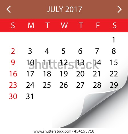 An Illustration of a 2017 Calendar - July - stock photo