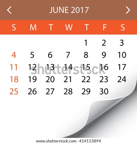 An Illustration of a 2017 Calendar - June