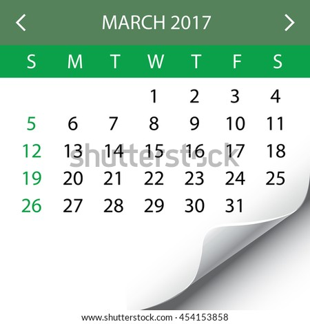 An Illustration of a 2017 Calendar - March