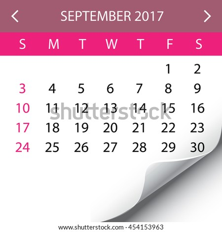 An Illustration of a 2017 Calendar - September