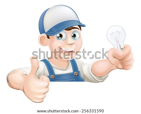 An illustration of a cartoon electrician giving a thumbs up and holding a light bulb - stock photo