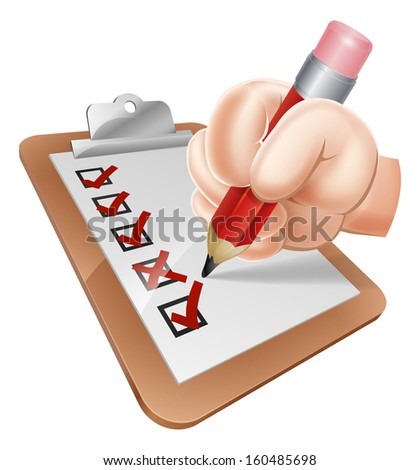 An illustration of a cartoon hand writing on a survey clipboard - stock photo