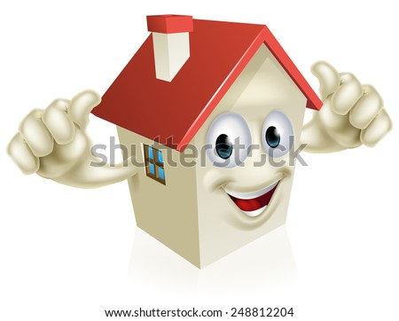 An illustration of a cartoon happy house mascot giving a thumbs up  - stock photo