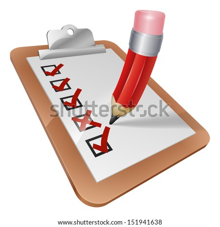 An illustration of a cartoon pencil writing on a survey clipboard - stock photo