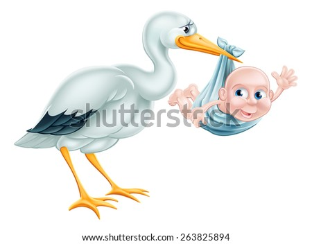 An illustration of a cartoon stork holding a newborn baby. Classic metaphor for pregnancy or child birth. - stock photo