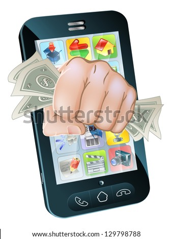 An illustration of a cell phone with a fist full of dollars coming out of the screen - stock photo