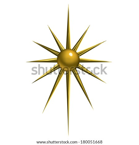 An illustration of a Christmas gold star isolated on white