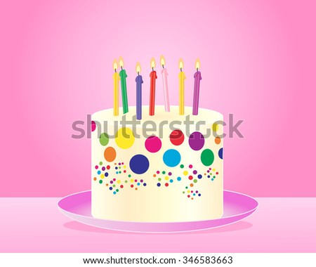 an illustration of a classic colorful birthday cake with candles and cream frosting on a pink plate and background