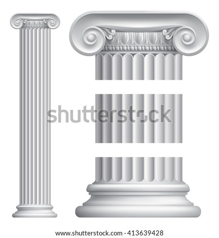 An illustration of a classic Greek or Roman ionic column pillar - stock photo