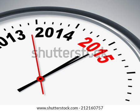 An illustration of a clock with 2013 2014 2015