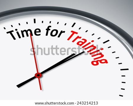 An illustration of a clock with the words Time for Training