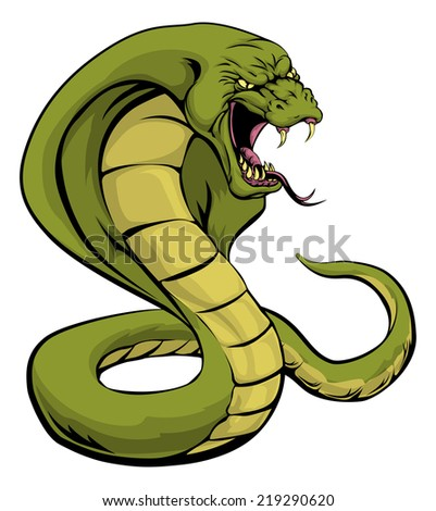 An illustration of a cobra snake sports mascot about to strike - stock photo