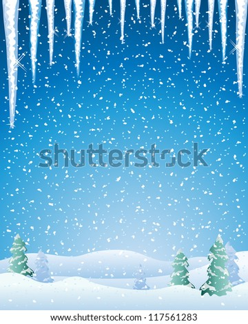 an illustration of a cold winter landscape with snow capped fir trees icicles and a night sky