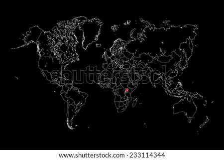 An Illustration of a colourfully filled outline of  Uganda - stock photo