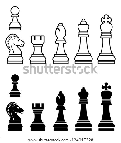 An illustration of a complete set of chess pieces in black and white - stock photo