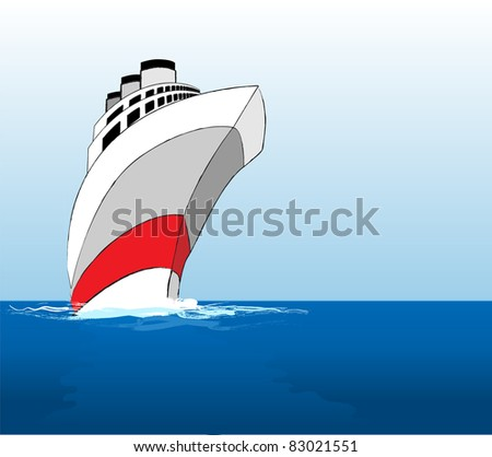 An illustration of a cruise ship at sea. Also available in vector format - stock photo