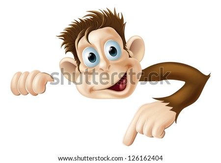 An illustration of a cute cartoon monkey peeking round from behind a sign and pointing or showing what it says - stock photo