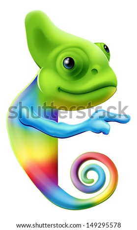 An illustration of a cute cartoon rainbow coloured chameleon pointing round a sign or banner - stock photo